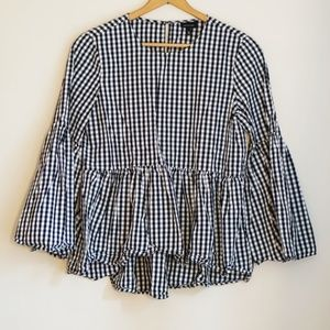 Who What Wear Gingham Bell Sleeve Peplum Top